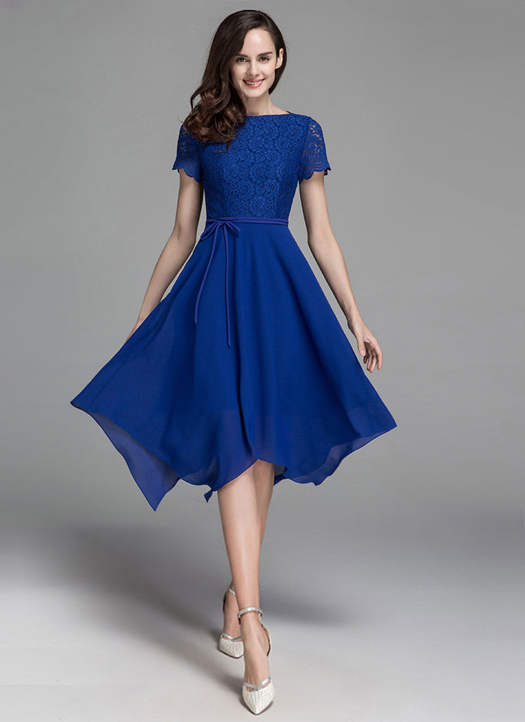 Asymmetric Blue Lace Chiffon Midi Dress with Scalloped Short Sleeves
