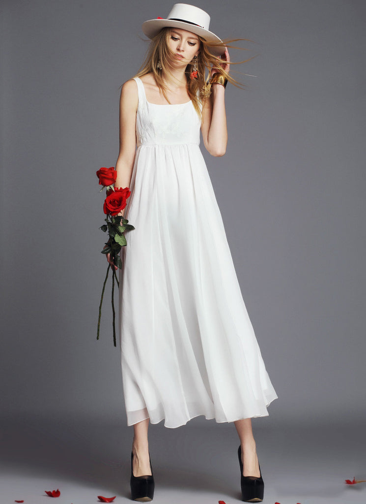 Empire Waisted White Maxi Dress with Lace Tank Top