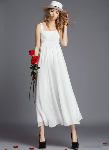 Empire Waisted White Maxi Dress with Lace Tank Top RM547