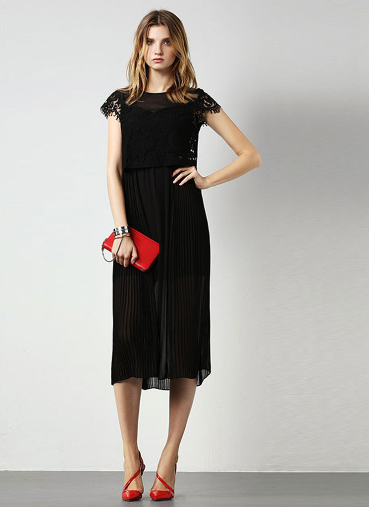 Pleated Black Midi Dress with Layered Top and Lace Details