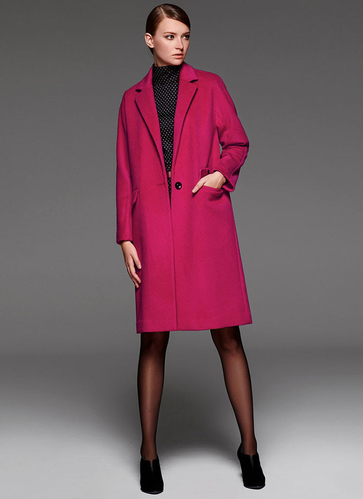 Dark Violet Red Cashmere Wool Coat in Loose Fit Silhouette