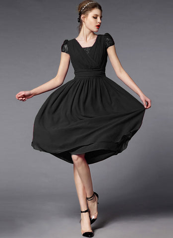 Black Midi Dress with Lace Details and Faux Surplice Bodice RM285
