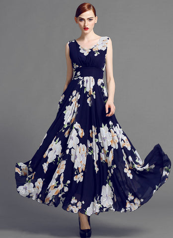 Sleeveless V Neck Dark Blue Floral Maxi Dress MX35