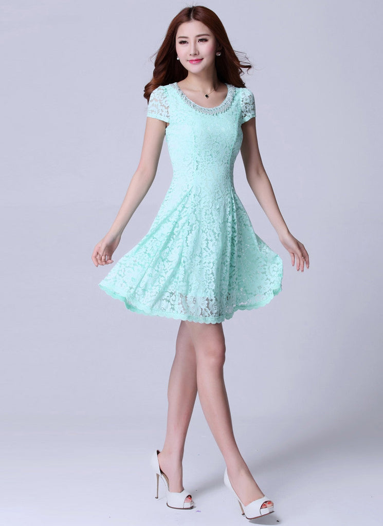 Aquamarine Lace Mini Fit and Flare Dress with Beaded Neckline