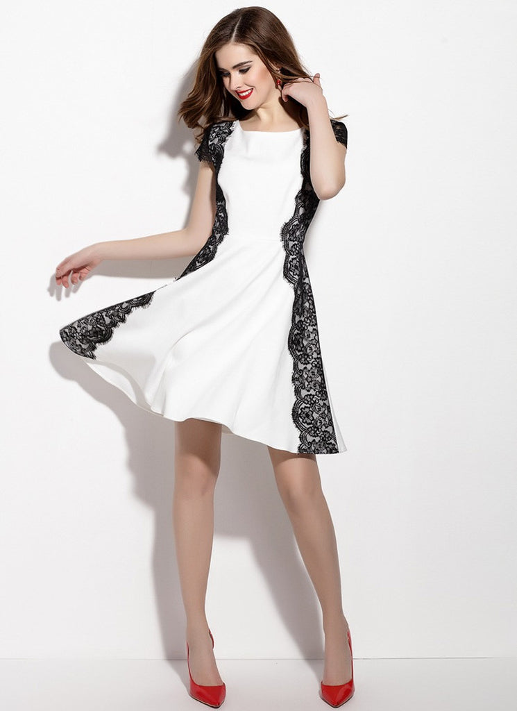 White Aline Mini Dress with Black Lace Details