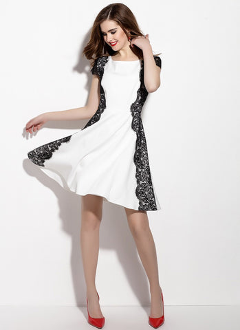White Aline Mini Dress with Black Lace Details MN17