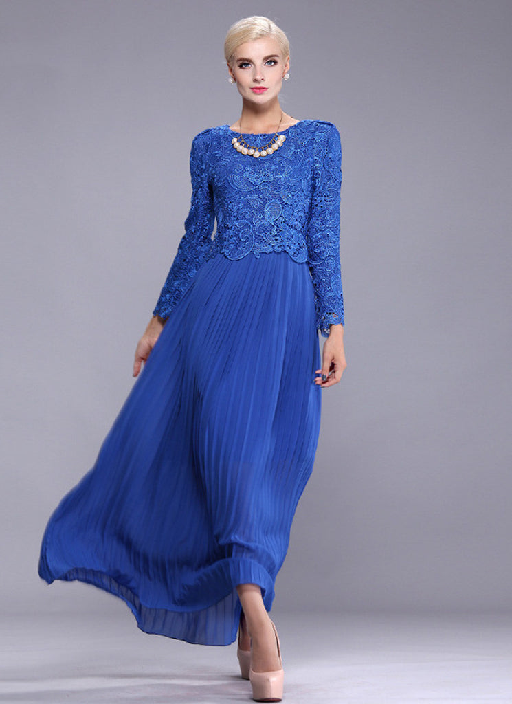 Blue Lace Peplum Maxi Dress with Pleated Skirt