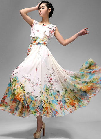Sleeveless Yellow Floral Maxi Dress with Layered Top MX39