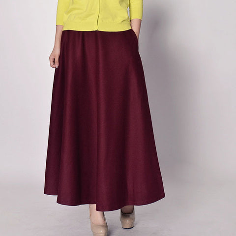 Maroon Wool Blend Maxi Skirt - Burgundy Skirt with Extra Wide Hem - WSK2D