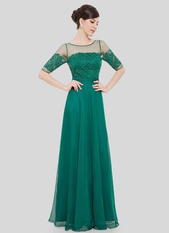 Sea Green Lace Organza Chiffon Maxi Dress with V Back MX48