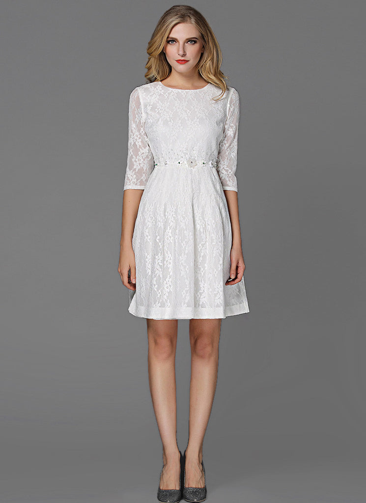 White Lace Aline Mini Dress with Embellished Waist and Elbow Length Sleeves