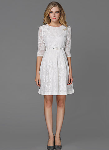 White Lace Aline Mini Dress with Embellished Waist and Elbow Length Sleeves MN49