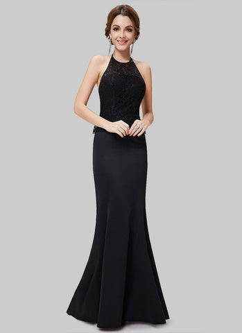Black Halter Maxi Dress with Lace Peplum Top RM464