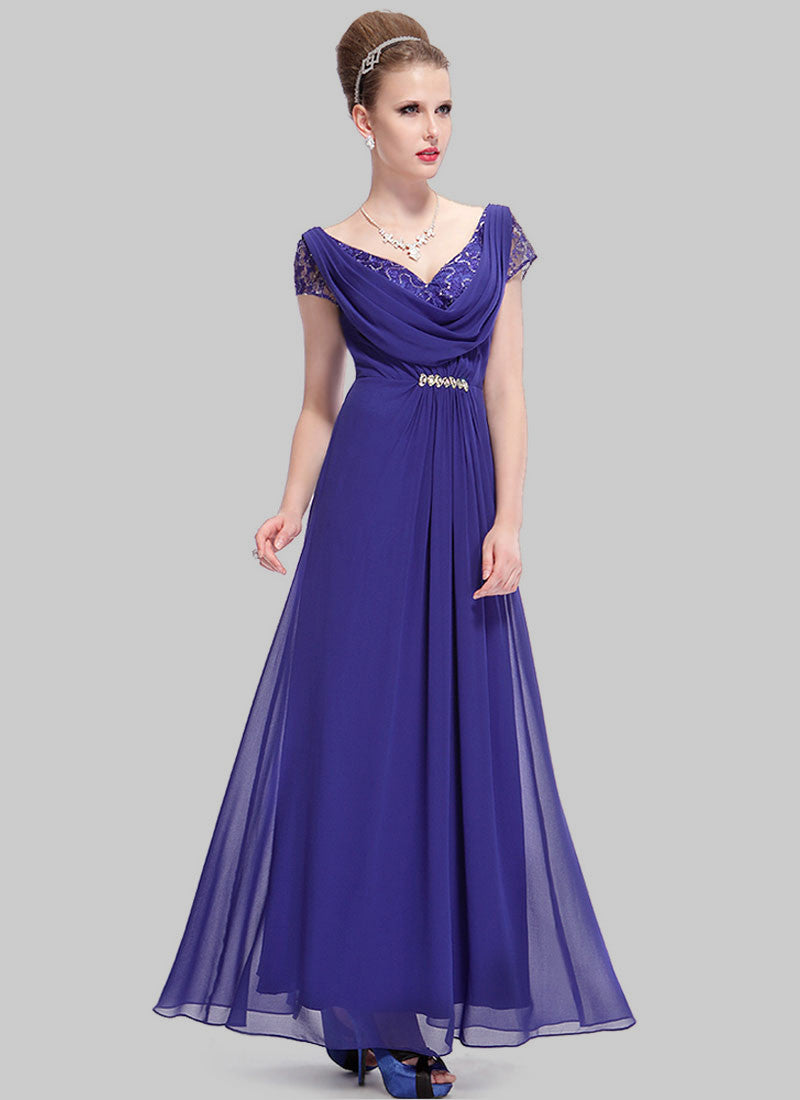 V Back Slate Blue Evening Gown With Drape And Lace Details Rm505