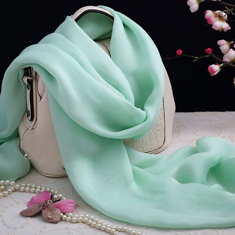 Mint Green Silk Chiffon Scarf - Green Silk Scarf - Large Mint Green Silk Shaw - 2017-17