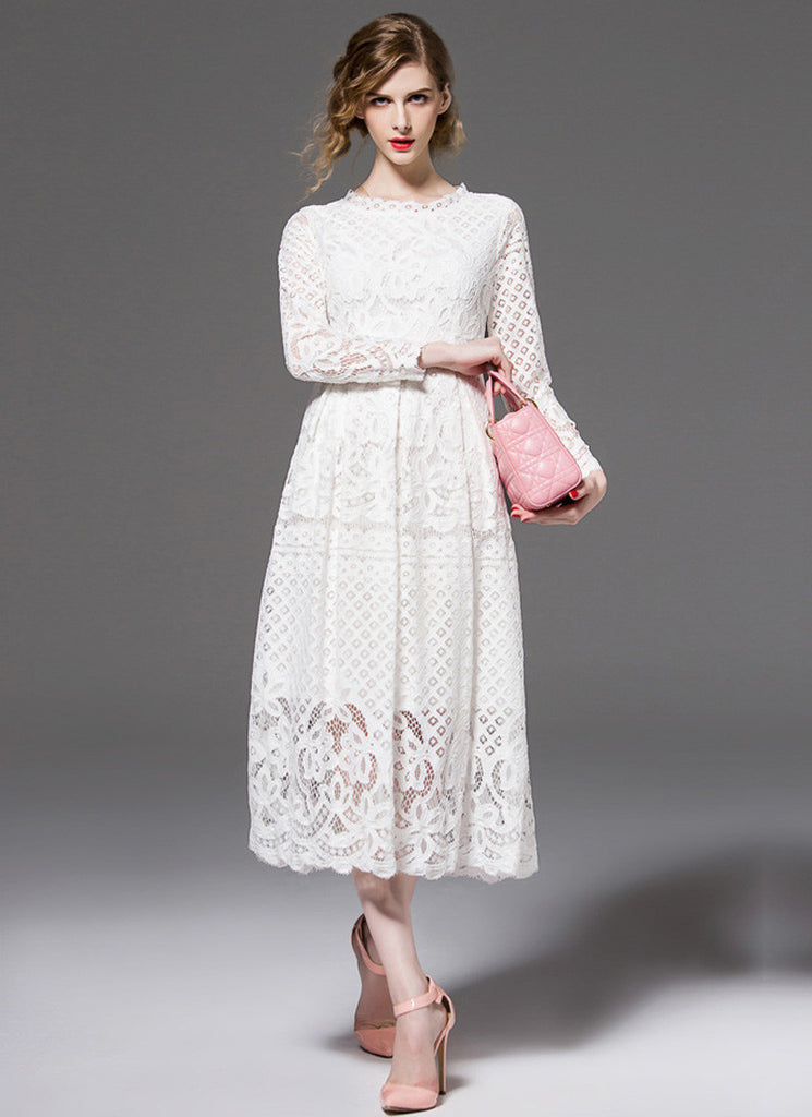 Long Sleeved White Lace Midi Dress with Scalloped Hem
