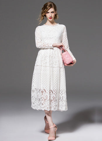Long Sleeved White Lace Midi Dress with Scalloped Hem MD15