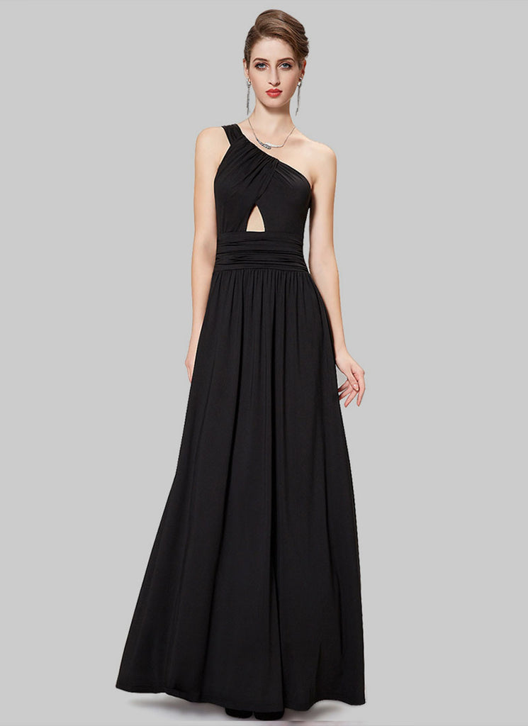 One Shoulder Black Maxi Dress with Cut on the Front Top
