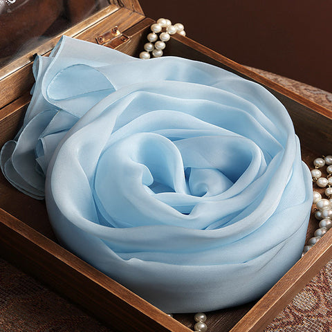 Light Blue Silk Chiffon Scarf - Sky Blue Mulberry Silk Scarf SS9