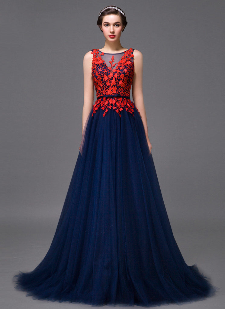 Open Back Midnight blue Evening Dress with Contrast Colored Red Lace Top