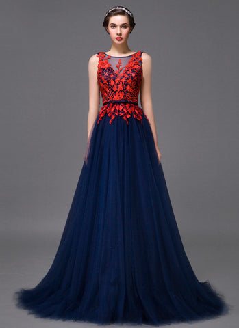 Open Back Midnight blue Evening Dress with Contrast Colored Red Lace Top MX44