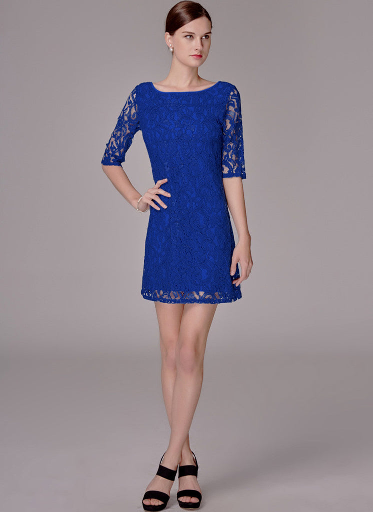 Royal Blue Lace Mini Dress with Elbow Sleeves
