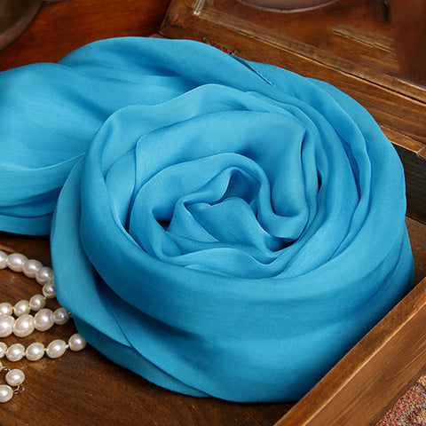 Deep Sky Blue Silk Chiffon Scarf - Medium Turquoise Mulberry Silk Scarf SS28