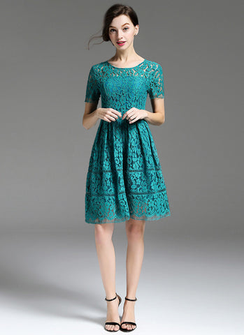 Dark Cyan Lace Mini Dress with Scalloped Hem and Eyelash Details MN93