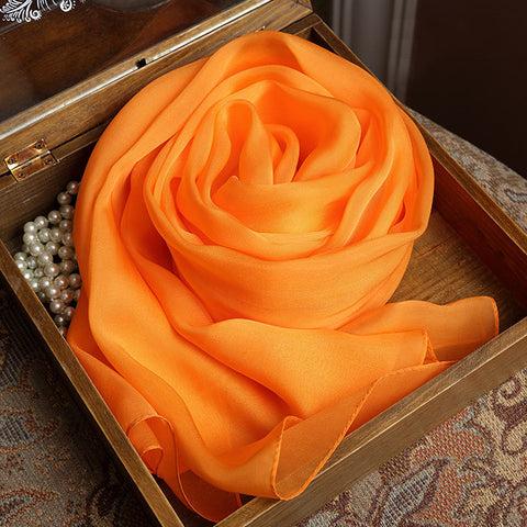 Orange Silk Chiffon Scarf - Bright Orange Mulberry Silk Scarf SS21