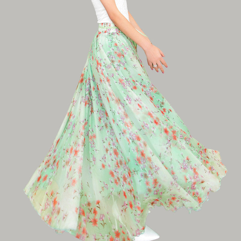 Light Green Chiffon Maxi Skirt with Pastoral Floral Print