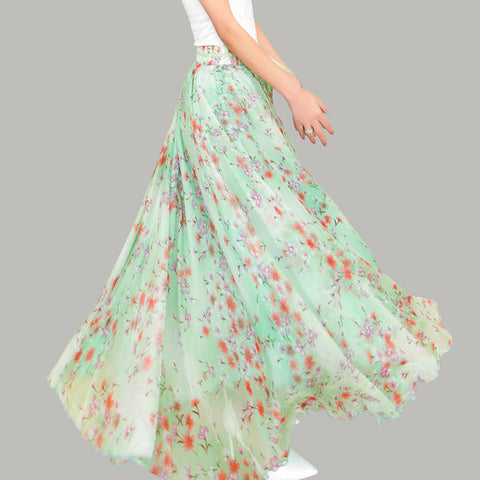 Light Green Chiffon Maxi Skirt with Pastoral Floral Print - Aquamarine Floral Maxi Skirt - SK8a