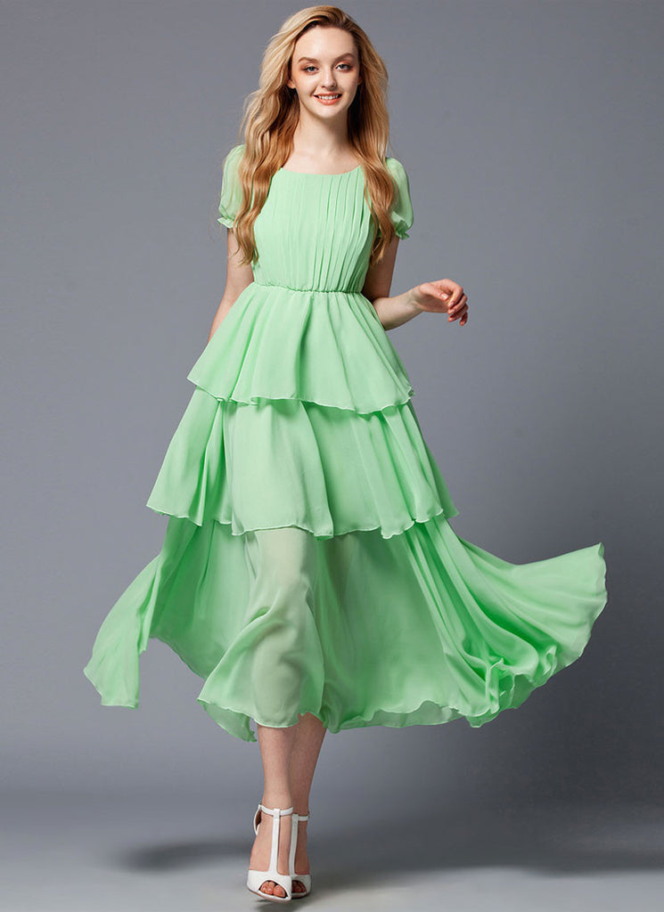 Layered Spring Green Maxi Dress with Pleated Top