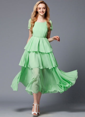 Layered Spring Green Maxi Dress with Pleated Top RM432