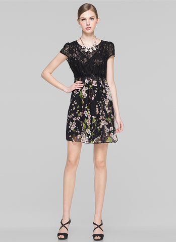 Black Floral Aline Mini Dress with Lace Top and Puff Cap Sleeves MN80