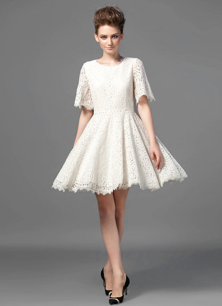 Ivory Lace Fit and Flare Mini Dress with Modified Angel Sleeves and Scalloped Hem
