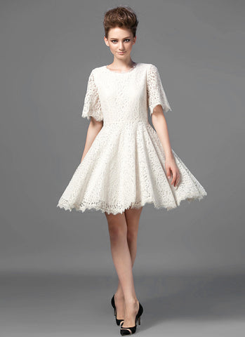 Ivory Lace Fit and Flare Mini Dress with Modified Angel Sleeves and Scalloped Hem MN53
