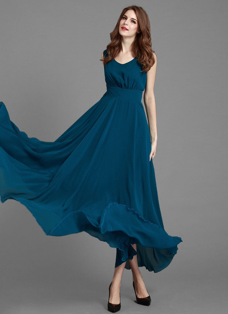 V Neck Teal Blue Chiffon Maxi Dress with Scoop Nape