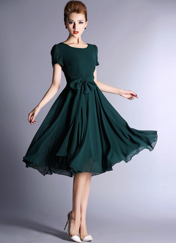 Dark Teal Chiffon Tea Dress with Sash RM543