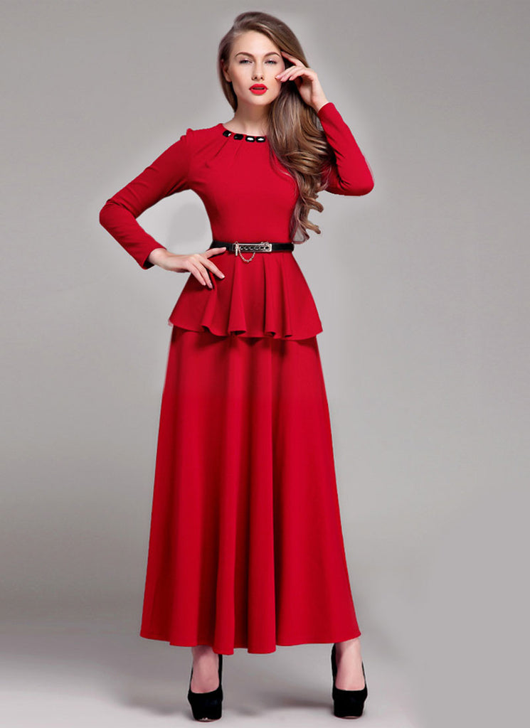 Red Peplum Maxi Dress with Cabochon Neck