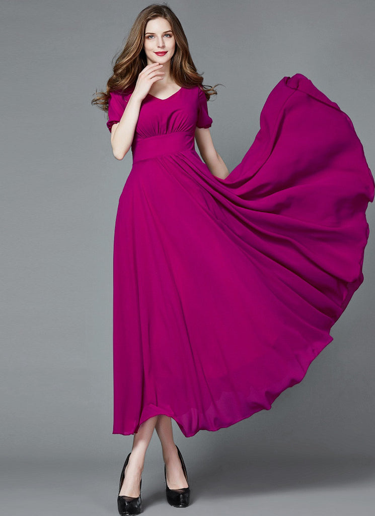 Medium Violet Red Chiffon Maxi Dress with V Neck and Short Sleeves
