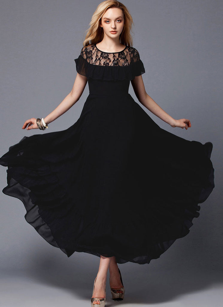 Black Maxi Dress with Lace and Flounce Details