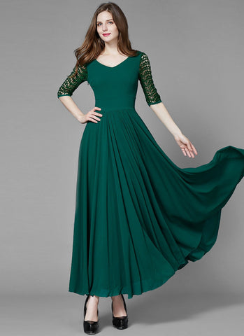 Dark Sea Green V Neck Maxi Dress with Elbow Lace Sleeves MX28