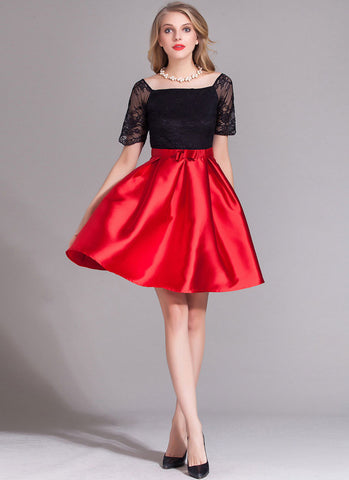Contrast Color Lace Satin Mini Dress with Bow Belt (Red Skirt) RD376