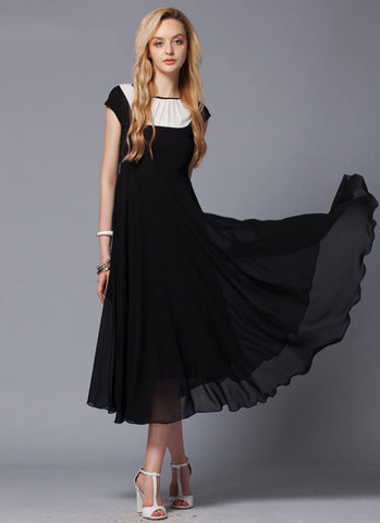 Black Max Dress with Contrast White Fabric Panel Insertion RM428