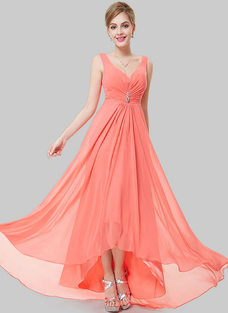 V Back Coral Evening Dress with Sweetheart Neck