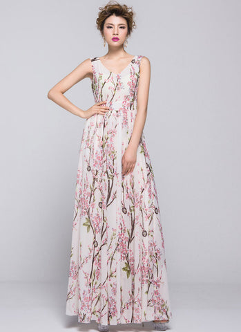 A Special Sale 40% Off Oriental Cherry Blossom Maxi Dress with V Back RM334