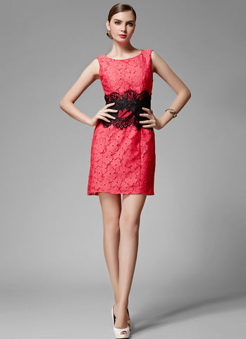 Indian Red Lace Sheath Mini Dress with Black Eyelash Lace Waist and Applique Details MN83