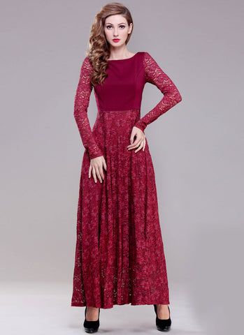 Long Sleeve Maroon Lace Maxi Dress with Scoop Back RM396