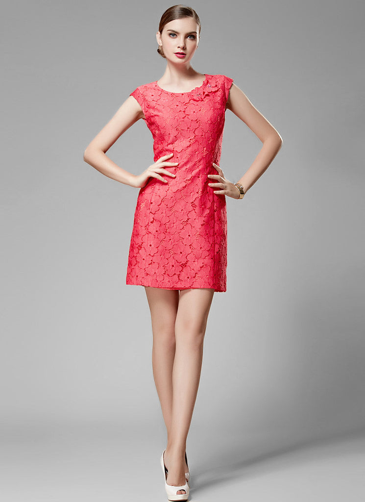 Coral Red Lace Sheath Mini Dress with Floral Applique Details on the Neck