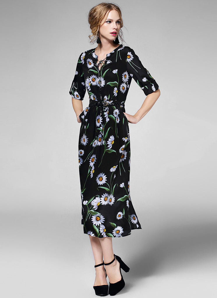 Half Sleeved Black Daisy Floral Midi Dress with Draw String Neck